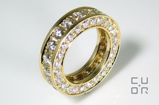 Alliance Ring Gelbgold mit Brillanten. Kundenauftrag