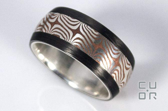Carbon Ring mit Mokume Gane.