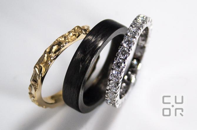 Ring Set. Alliance Ring Weissgold mit Brillanten. Carbonring. Gelbgoldring. Kundenauftrag