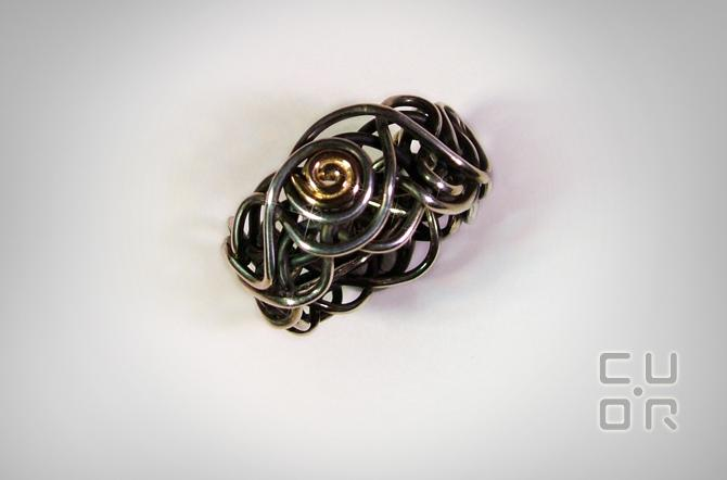 Ring Silber mit Rotgold. 390.-
