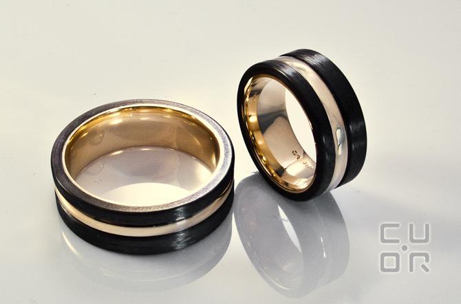 Trauring Mod. 4 Carbontrauringe in allen Edelmetallen erhältlich.  Paarpreise Gold ca. 2900.-