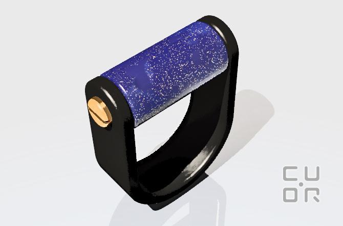 CAD Entwurf für einen Ring Carbon mit Steinwalze