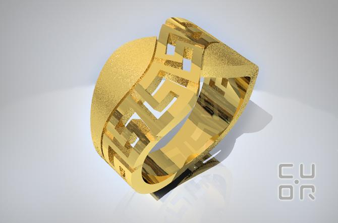 CAD Entwurf für Ring Gelbgold mit Griechischem Motiv