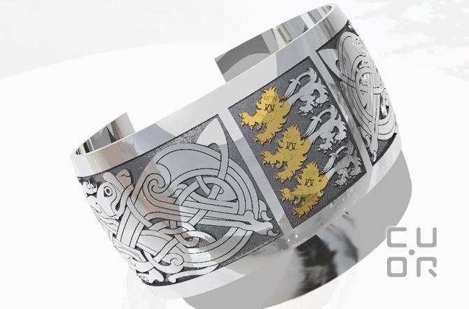 CAD Entwurf für einen Armreif mit keltischem Motiv und Familienwappen