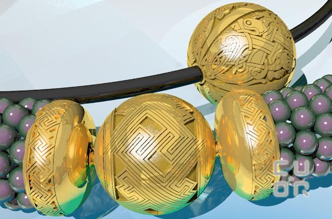 CAD Entwurf für Kugelschlösser mit keltischem Motiv