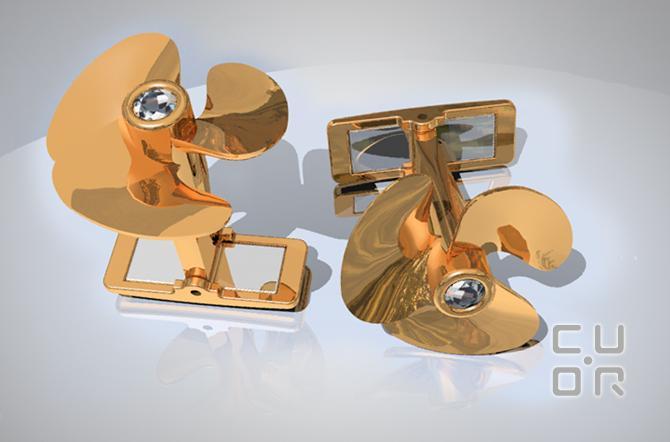 CAD Entwurf für ein Paar Manschettenknöpfe Rotgold mit Brillanten