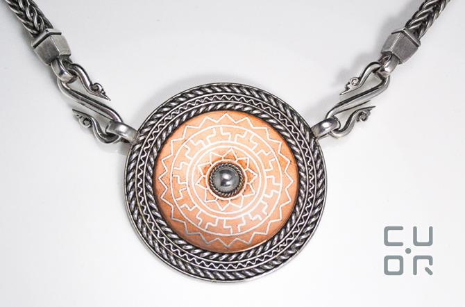 Collier Silber mit Kupfer. Tauschiert. Handgefertigte Fuchsschwanzkette.