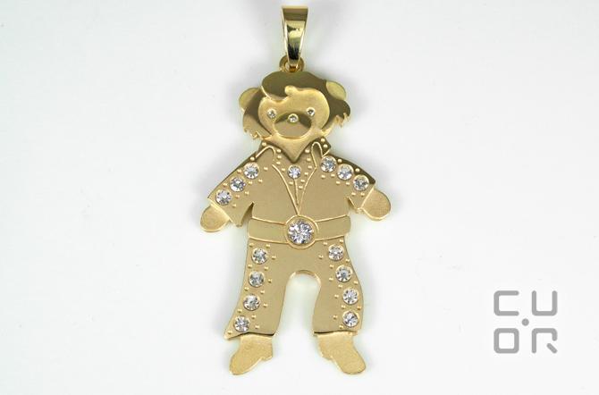 """Anhänger """"Elvis-Teddy"""" Gelbgold mit Brillanten, Kundenauftrag"""